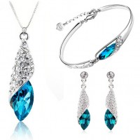 Blue Zircon 925 Silver Jewelry Set