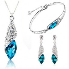 Blue Zircon 925 Silver Jewelry Set