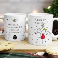 Couples Christmas Personalized  Mug Set