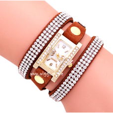 Womens Rectangular Diamond Dial Rhinestone Band Watch.
